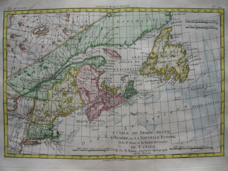 1780 - BONNE - Map  NEW ENGLAND  NOVA SCOTIA  PRINCE EDWARD Is. NEWFOUNDLAND