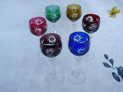 6 BOHEMIAN CRYSTAL GLASSES CORDIAL /SHERRY MULTI COLORS CUT TO CLEAR STEMWARE Crystal Glass Sherry Glass