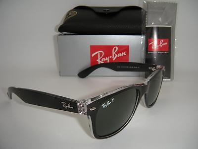NEW AUTHENTIC RAY-BAN NEW WAYFARER RB 2132 6052/58 55MM BLACK / GREEN POLARIZED Authentic Ray Ban Sunglasses