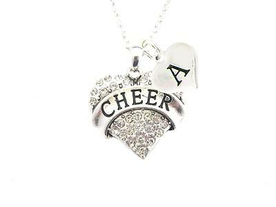 Custom Crystal Cheer Cheerleading Silver Chain Necklace Choose Initial Charm