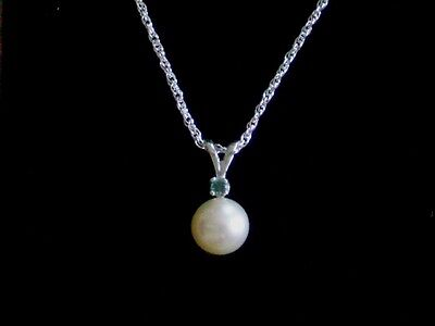 New 925 Sterling Silver Akoya Sea Pearl Natural Blue Diamond Accent Necklace