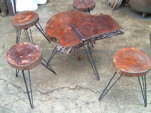 table 4 tabourets design tronc d 39 arbre pied metal style jeanneret stool coffee ebay. Black Bedroom Furniture Sets. Home Design Ideas