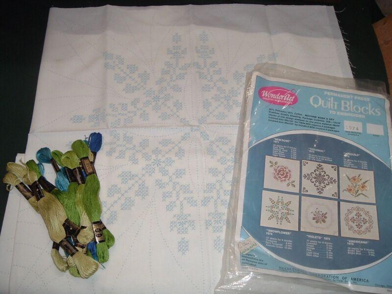 Vtg 70s Wonderart Stamped Embroidery Quilt Blocks 4 Snowflowers +Floss 18x18#LK1