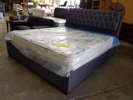 NEW! FLATPACK QUEEN OR KING size grey bed frame 2 drawers