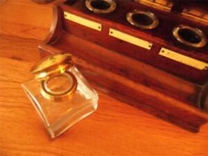 ANTIQUE VINTAGE CLEAR GLASS INK BOTTLE INKWELL BRASS FLIP-TOP LID FOR SLOPE/BOX