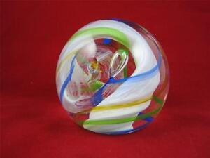 Stunning-Vintage-Caithness-Scotland-Art-Glass-Ribbons-Paperweight-H8612S
