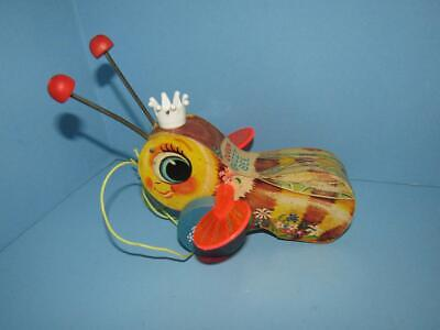Vintage Fisher Price Queen Buzzy Bee Wooden Pull Toy 444 - Nice Clean