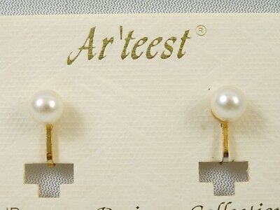WHOLESALE PRICED NEW Goldtone 6 mm Faux Pearl Clip 1 DOZEN Earrings