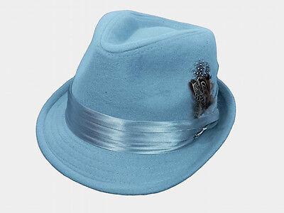 Cuban Hat (Mens Fedora Dress Hat Cuban Style Casual Upturn Short Brim Light Gray Wool Blend)