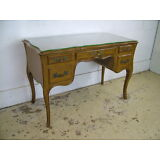 Fancy Antique Vintage French Louis XV Fruitwood & Leather Vanity Desk Glass Top