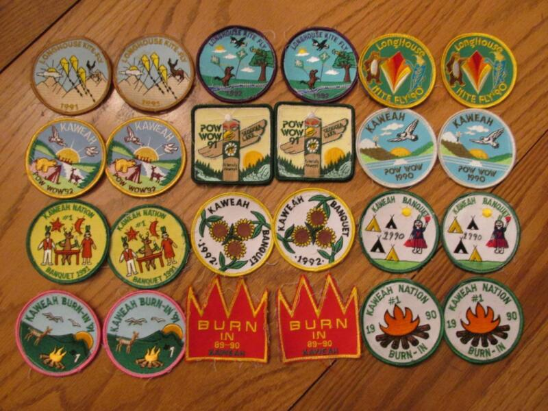 24 Old Indian Guides/Maidens Patches - Kaweah Burn-In/Pow-Wow/Kite Fly/Banquet++