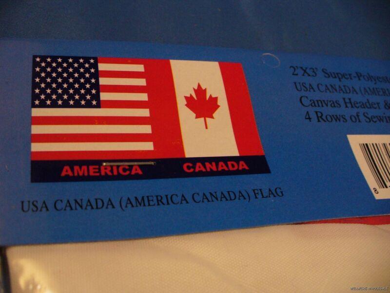 LOT OF 2 USA CANADA AMERICA 2X3 FLAGS U.S.A CANADIAN AMERICAN UNITED STATES U.S.