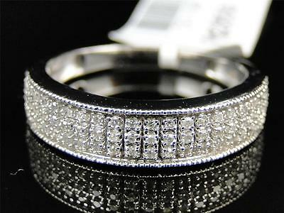 Mens 10K White Gold Genuine Diamond Pave Wedding Engagement Band Ring .29 Ct