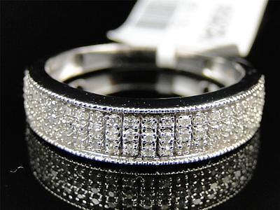 Mens 10K White Gold Genuine Diamond Pave Wedding Engagement Band Ring .29 Ct