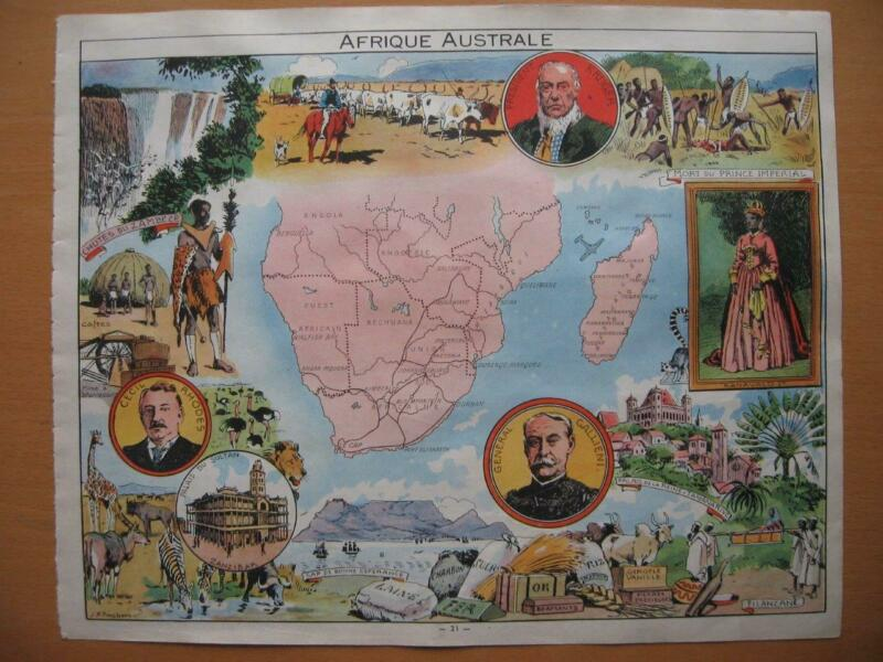 1948 - PINCHON - Illustrated historical map SOUTH AFRICA  MADAGASCAR ZANGUEBAR
