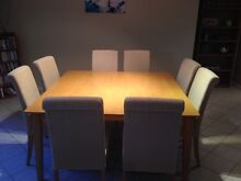 Square dining table 1.5 x 1.5m with 8 matching upholstered chairs Taylors Lakes Brimbank Area Preview