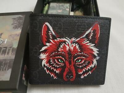Gucci GG Supreme Red Wolf Print Animal Bifold Wallet - Card Wallet
