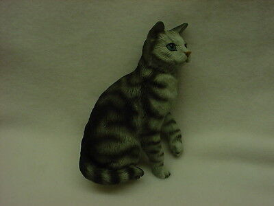 Gray Tabby Cats - SILVER GRAY TABBY CAT FIGURINE kitty kitten HAND PAINTED COLLECTIBLE Statue NEW
