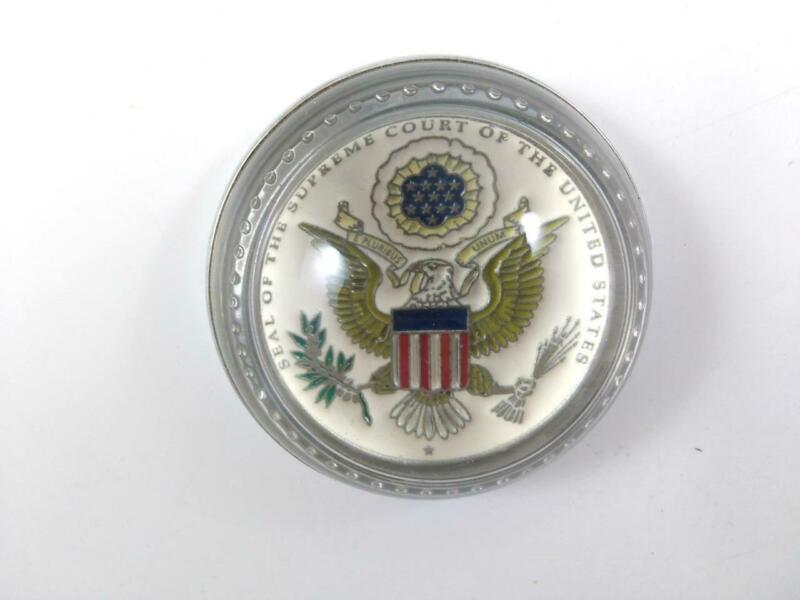 Seal of the Supreme Court of the United States PAPERWEIGHT Glass Dome Pewter US