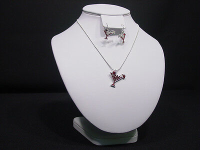 9hx8w White Leather Earring Bust Necklace Chain Jewelry Display Stand Ja36w1