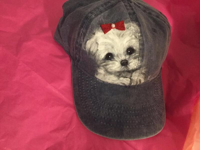 MALTESE  PUPPY HAND PAINTED  ON  CAP/HAT