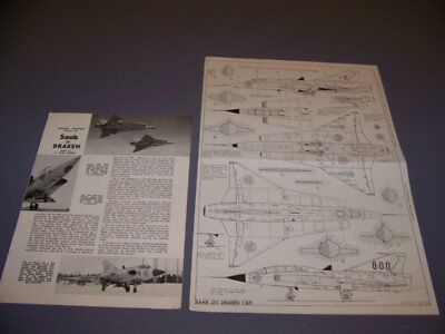 VINTAGE..SAAB 35 DRAKEN J.35AC/F VARIANTS..5-VIEWS/DETAILS...RARE! (485P) for sale  Shipping to Canada