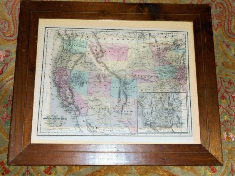 Original 1865 Sam Bowles map of the Territories and Pacific States in oak frame