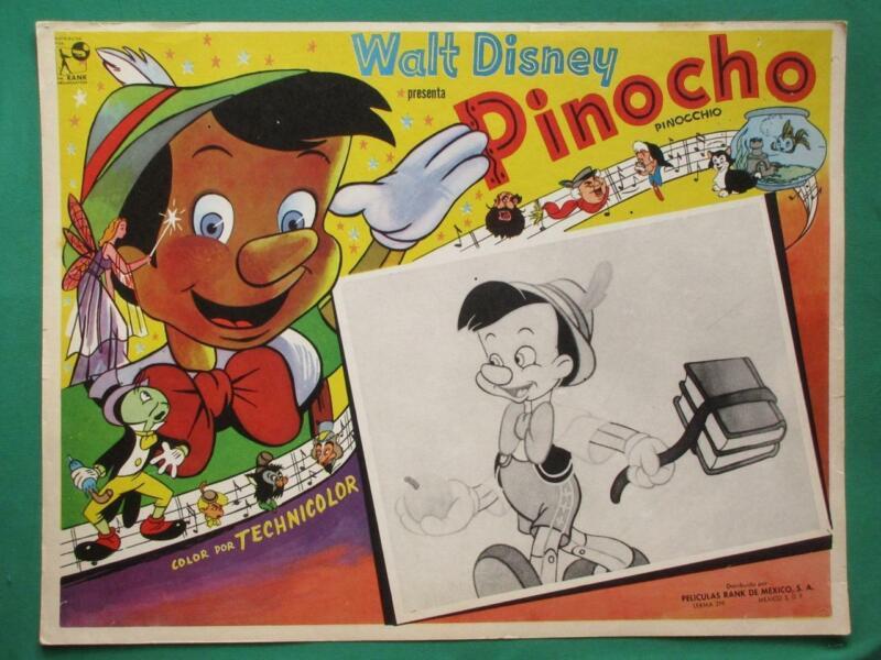 PINOCCHIO JIMINY CRICKET PINOCHO WALT DISNEY BEAUTIFUL ART MEXICAN LOBBY CARD
