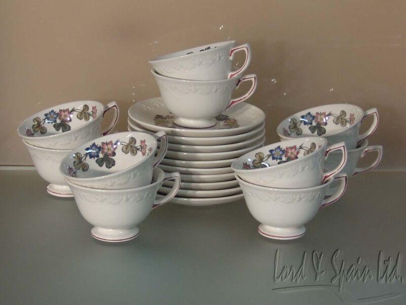 10 Wedgwood PEMBROKE Corinthian Floral Cups & Saucers