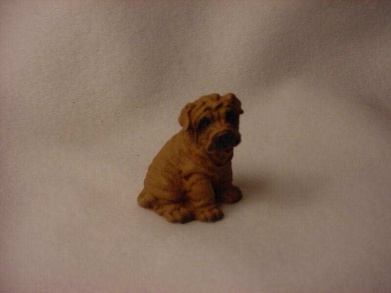 SHAR PEI brown puppy dog HAND PAINTED MINIATURE resin FIGURINE Small Mini NEW