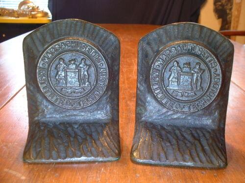 Rare Pair Antique Bronze M.I.T. Massachusetts Institute Of Technology Bookends