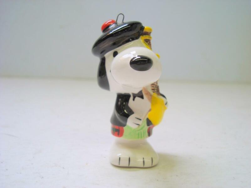 1966 Vintage Ceramic Scottish Bagpiper Snoopy Christmas Ornament