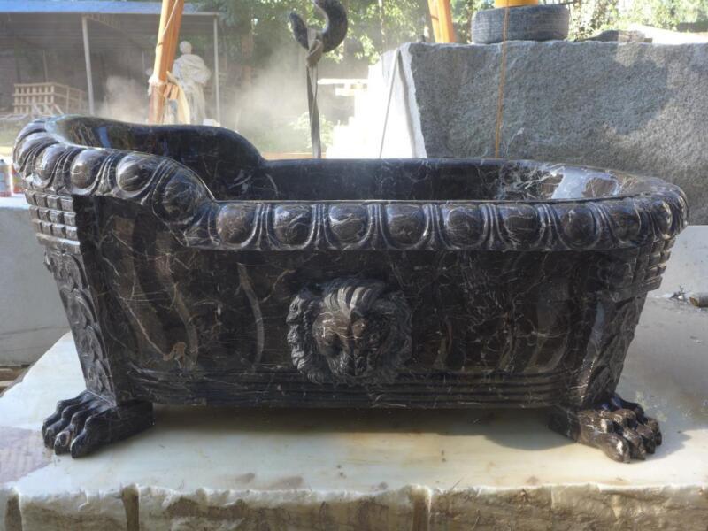 BEAUTIFUL HAND CARVED MARBLE ESTATE LION HEAD BATHTUB #68