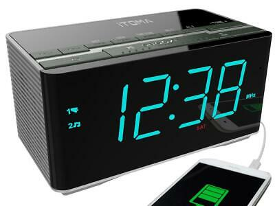 Dual Alarm Clock Radio with Wireless Bluetooth Stereo Speakers Digital FM USB
