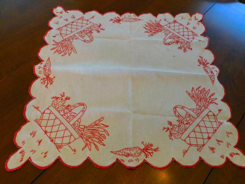 Vintage Handmade REDWORK EMBROIDERED Linen TABLECLOTH Centerpiece Veggie Basket