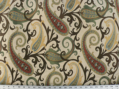 Woven Paisley Scroll - Drapery Upholstery Fabric Woven Jacquard Paisley Scrolls - Jeweltones / Beige