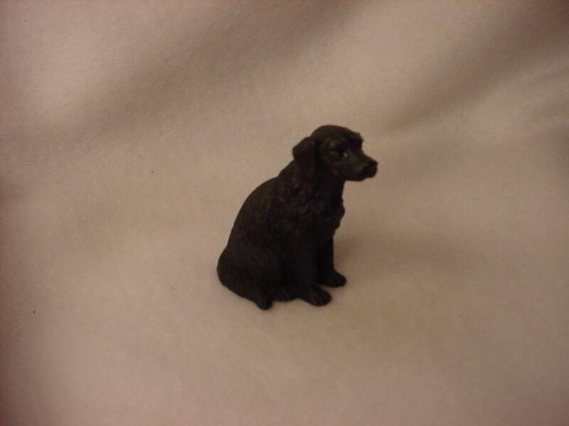 FLAT COATED RETRIEVER puppy Dog HAND PAINTED FIGURINE Resin MINIATURE Small Mini