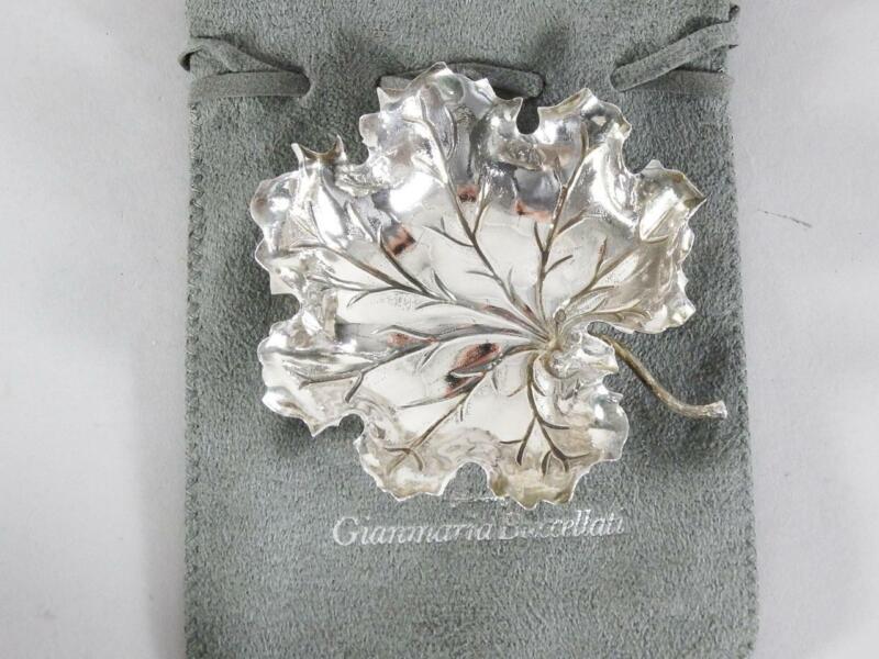 "Buccellati 3 1/2"" Sterling Silver Geranium Leaf Dish"