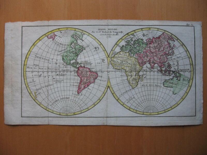 1750 - VAUGONDY - Small handcolored Pre COOK  WORLD MAP Australia