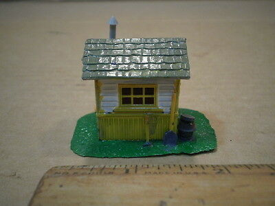 HO Model Train Small Shed Building Yellow with Gray Roof maybe an out house