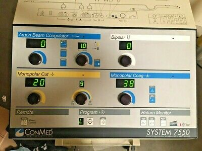 Conmed System 7550 7500 Esu Electrosurgical Generator Abc Argon Beam Coagulator