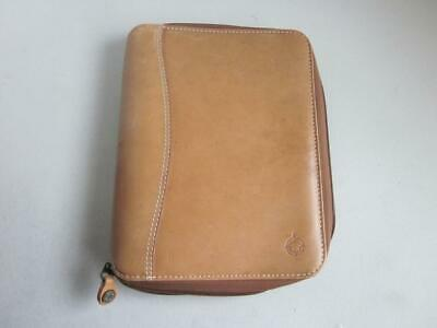 Franklin Covey Classic Tan Leather Zippered Binder