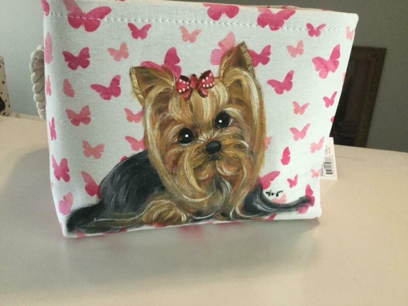 YORKIE HAND PAINTED PINK BASKET