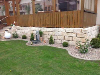 Rustikale Sand (Sandstein Bord Kante Sichtschutz Hochbeet Gartenmauer Rustikal Massiv Naturstein)