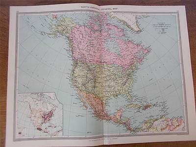 Antique c1904 Colour Map of NORTH AMERICA GENERAL MAP HARMSWORTH ATLAS VGC