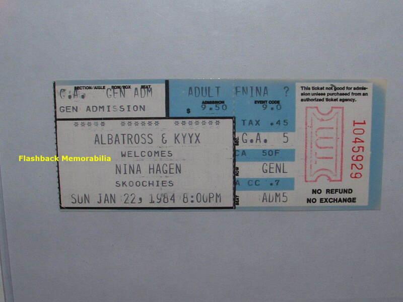 NINA HAGEN Concert Ticket Stub 1984 SEATTLE WA SKOOCHIES Extremely Rare