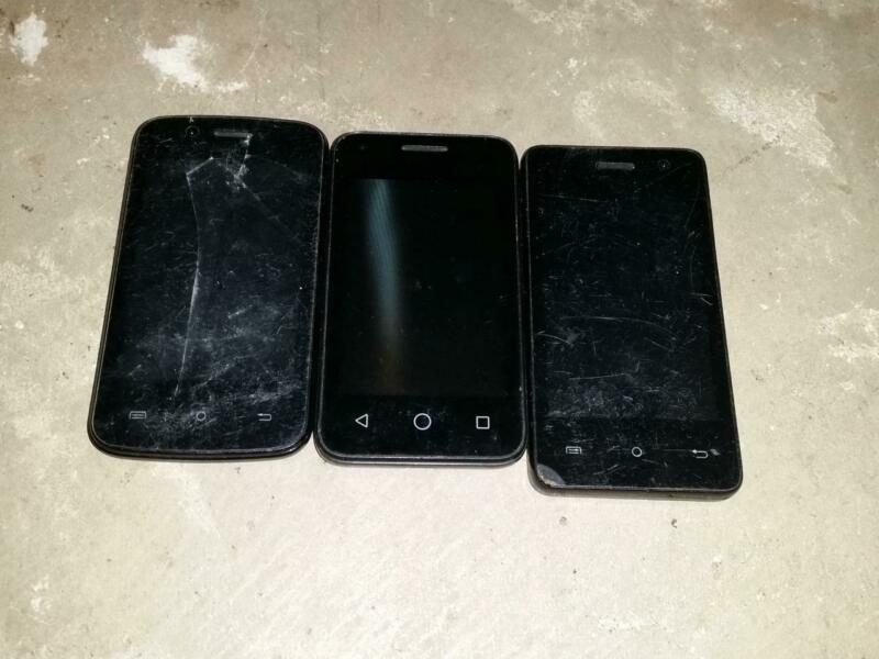 Lot of 3 BUDGET MOBILE CELL PHONES *PARTS REPAIR UNTESTED*