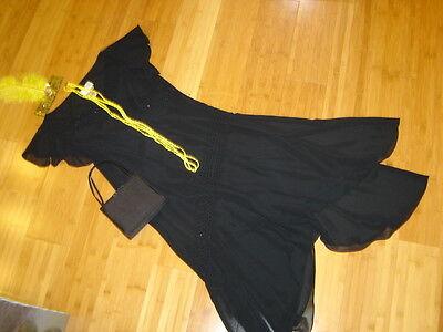 1920s twenties flapper costume black ciffon dress beading sz 6 bag headband beas](Twenties Dress)