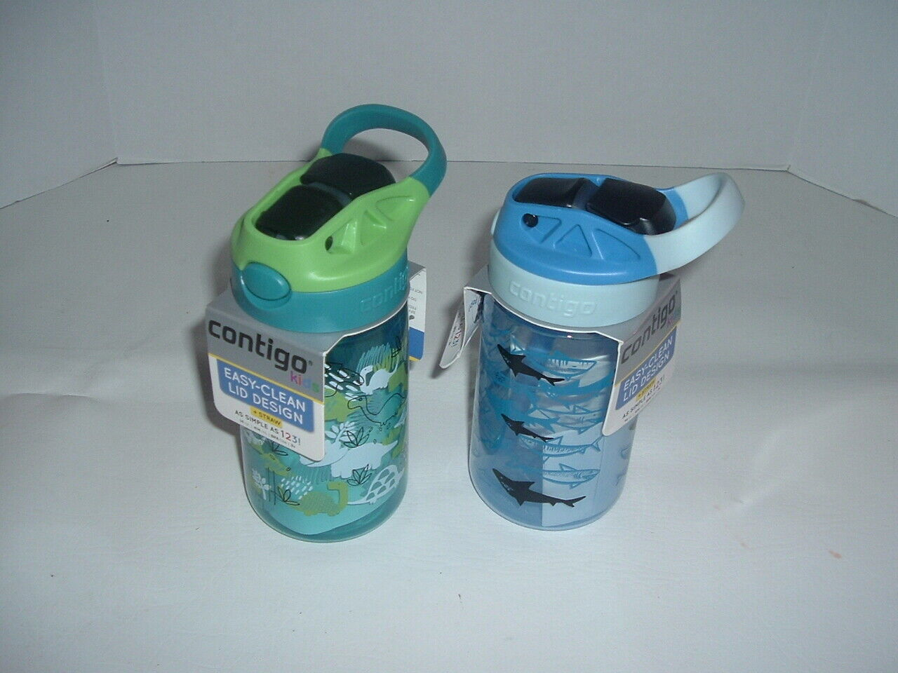 2 CONTIGO KIDS AUTOSPOUT 14 oz WATER BOTTLES SHARKS & DINOSA