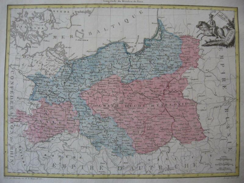 1812 - LAPIE - Map POLAND  PRUSSIA E. GERMANY  Grand Duché de Varsovie